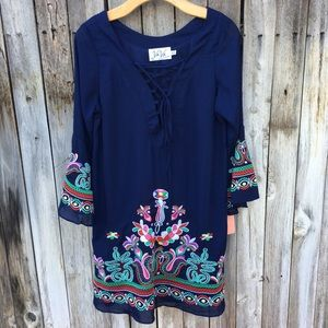 Vava By Joy Han Embroidered Dress Blue M